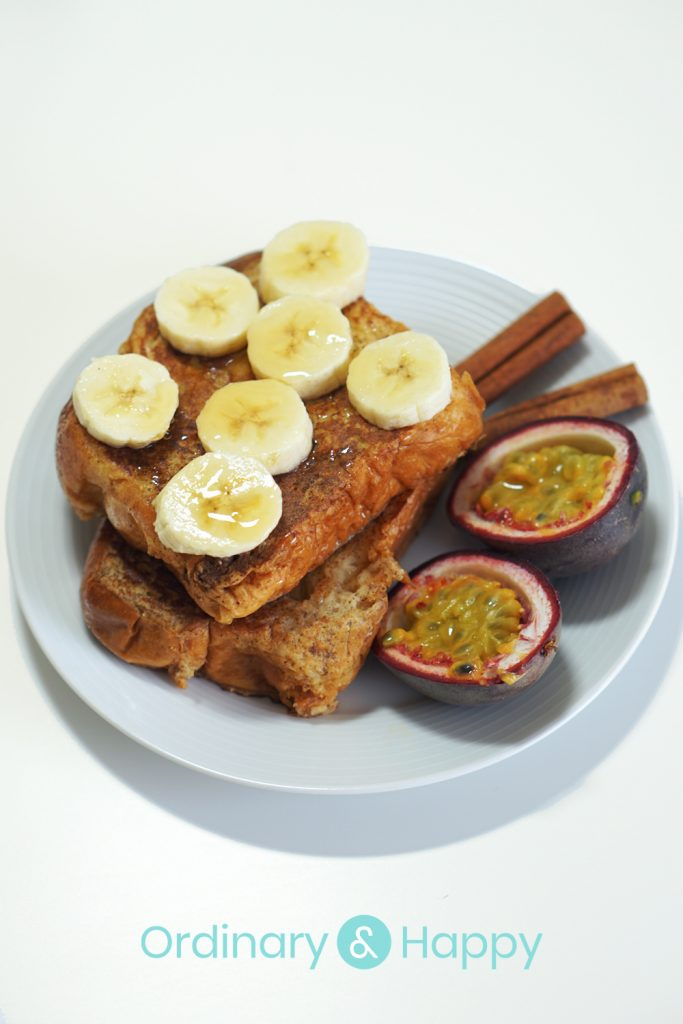 Brioche French Toast with Passion Fruit, Banana, and Maple Syrup - by Ordinary & Happy