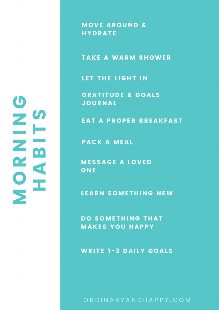 morning routine habits checklist