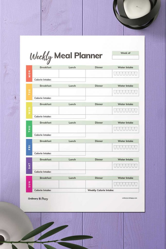 Calories and Water Intake Weekly Meal Planner