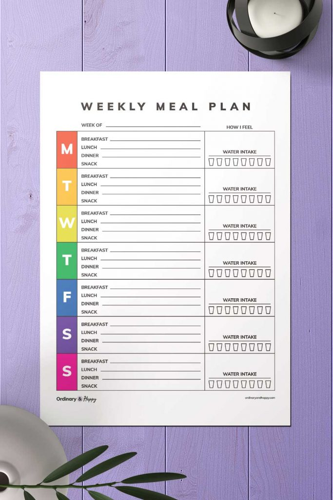 Rainbow-Colored Weekly Meal Planner with Water and Mood Tracker