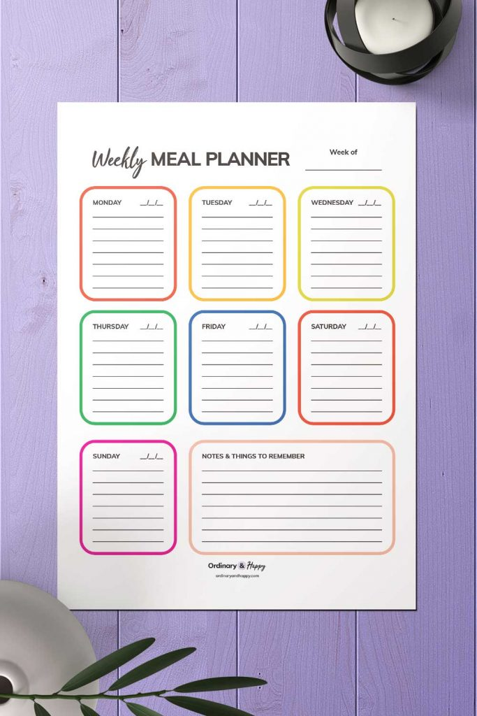 Diary-Style Weekly Meal Planner