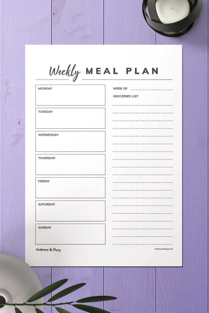 Simple Weekly Meal Planner with Groceries List