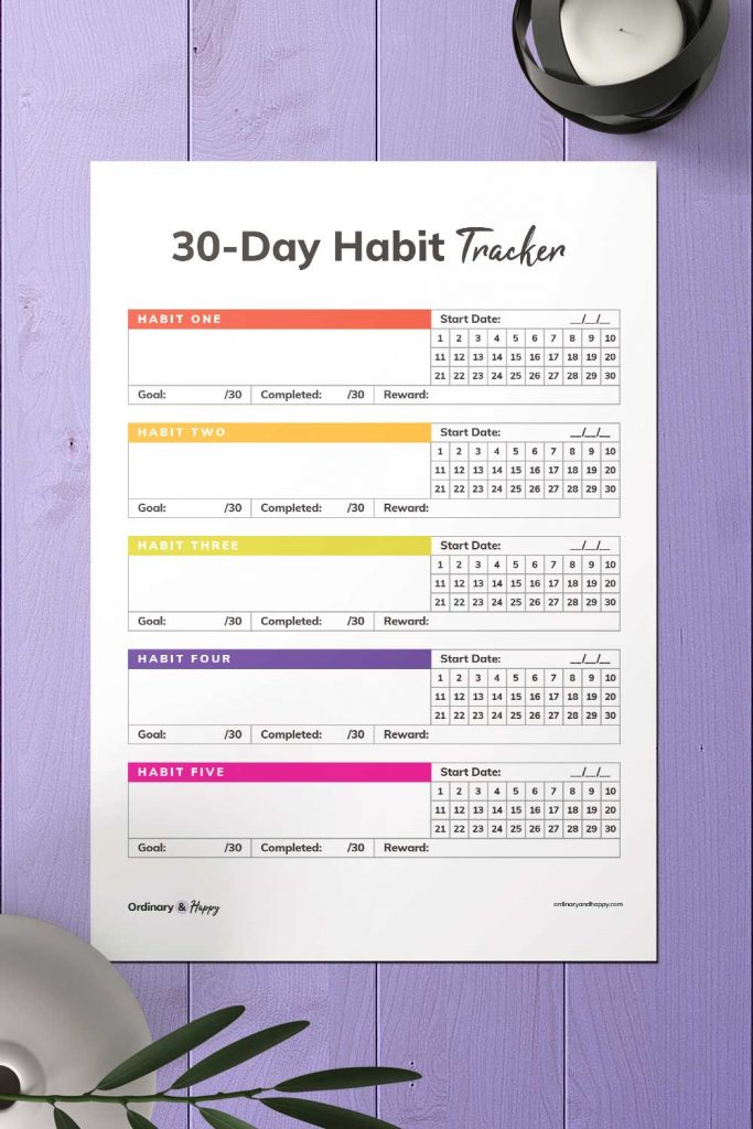 30-Day Rainbow Color Habit Tracker Template Image