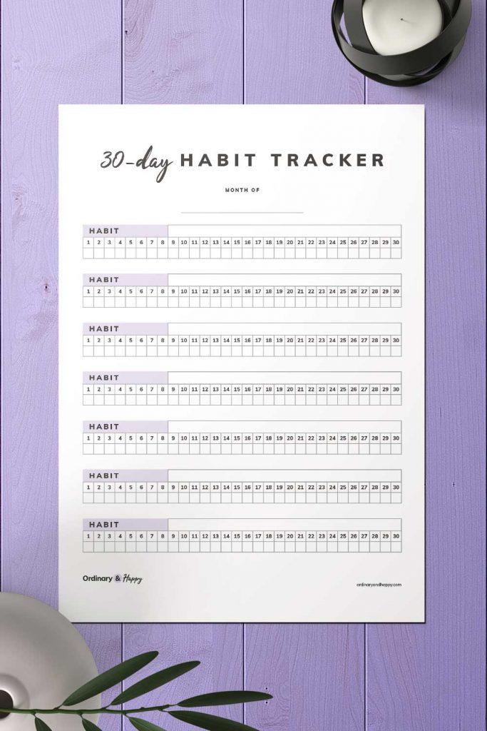30-Day Checkbox Habit Tracker Printable Image