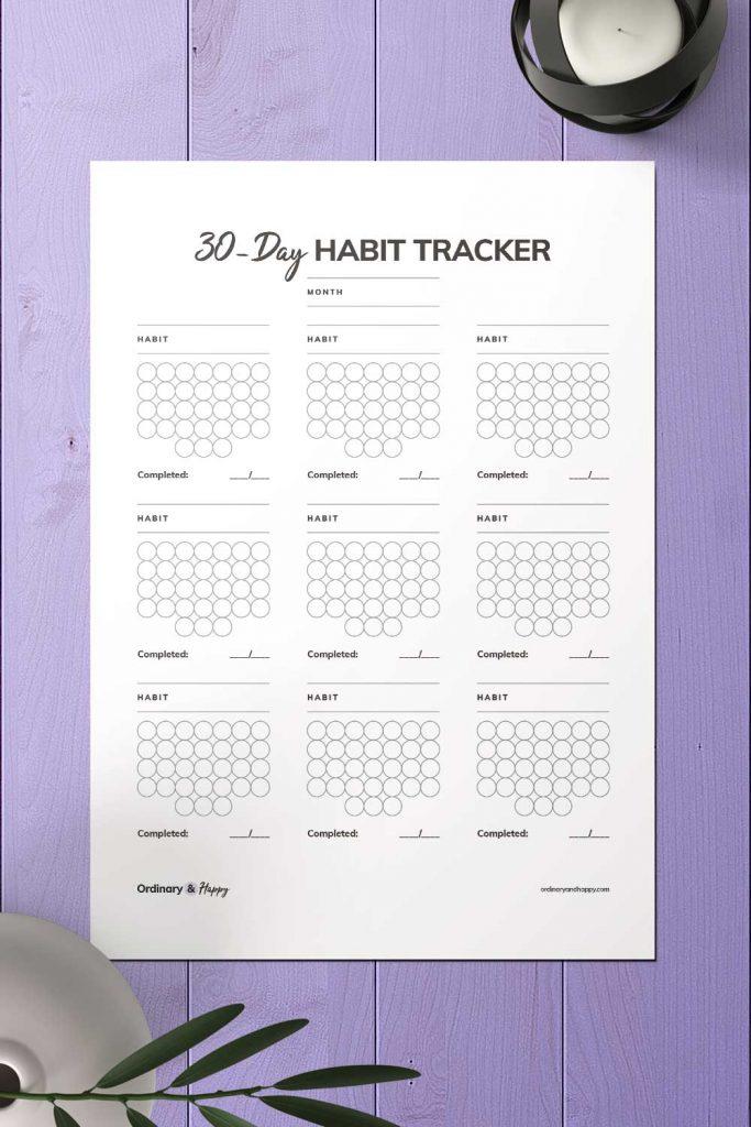 Monthly Circle Habit Tracker Printable Image