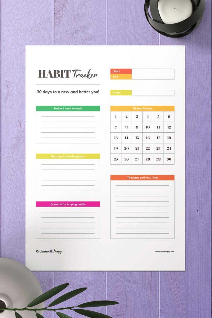 30-Day Habit, Mood, & Accomplishment Tracker Printable Image
