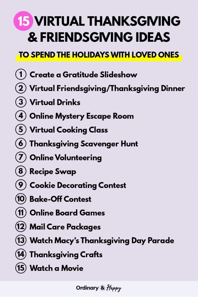 Virtual Thanksgiving & Friendsgiving Ideas List