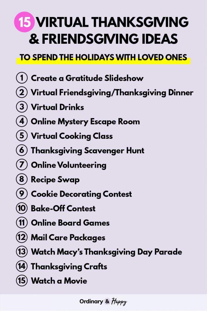 Virtual Thanksgiving & Friendsgiving Ideas List