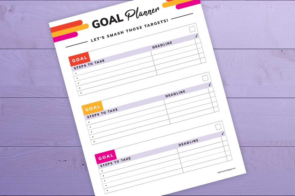 Goal Planner Printable Mockup Close-Up