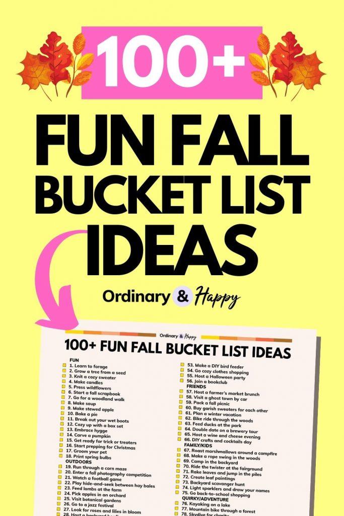 100+ Fun Fall Bucket List Ideas