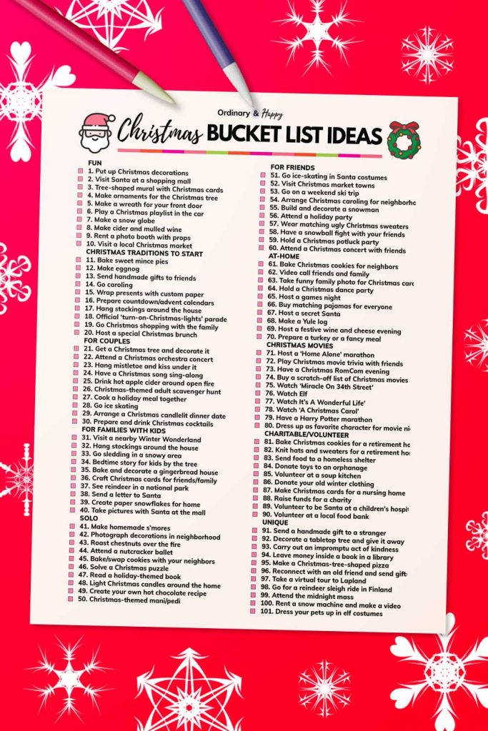 Christmas bucket list ideas list