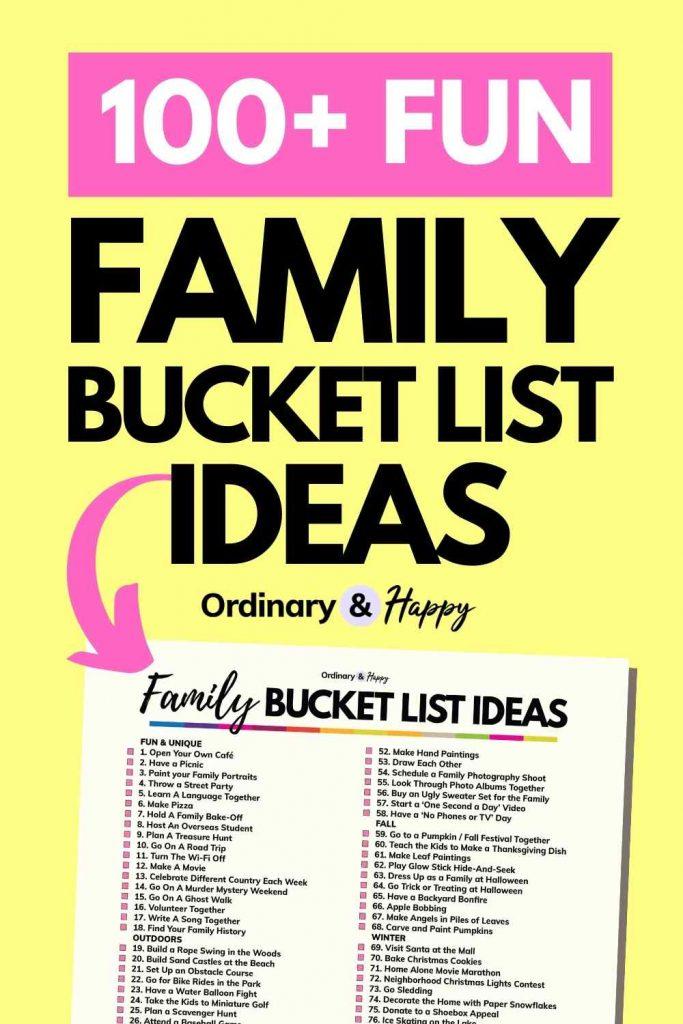 100+ Fun Family Bucket List Ideas
