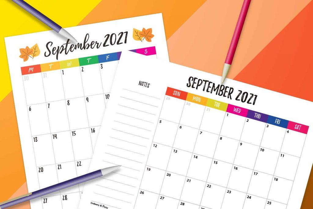 September Calendar Printable 2021 Image