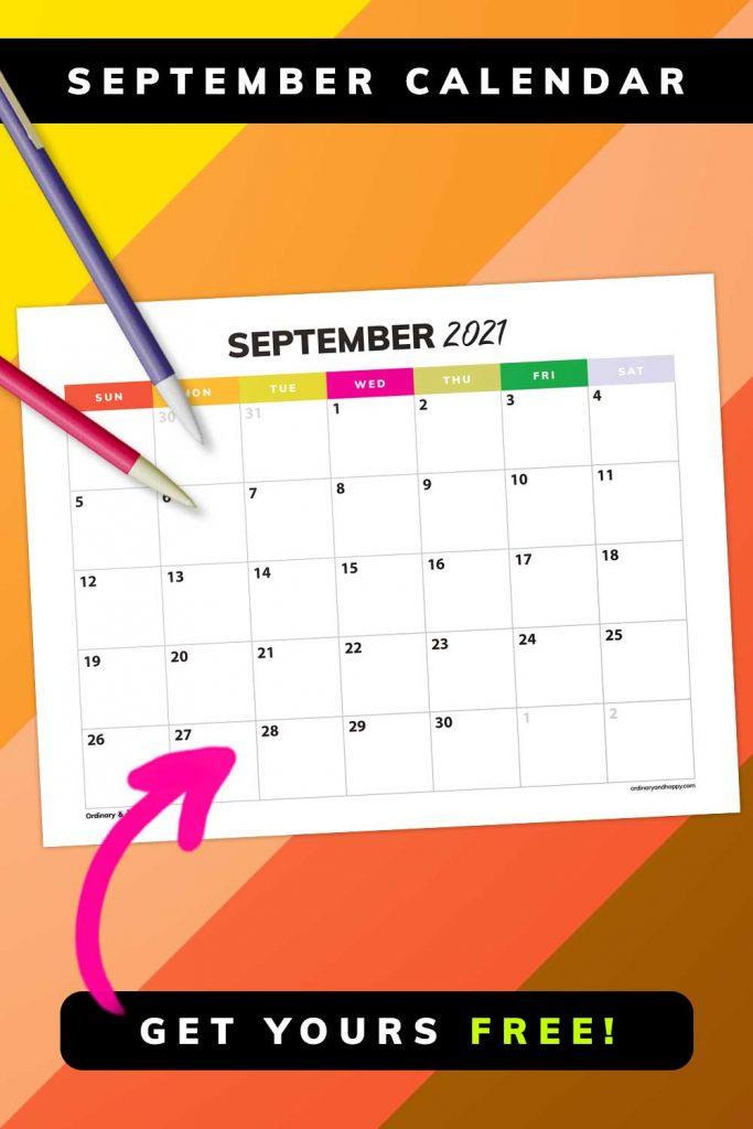September Calendar 2021 - Get Yours Free - Image