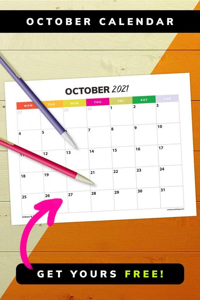 October 2021 Calendar - Get Yours Free - Image