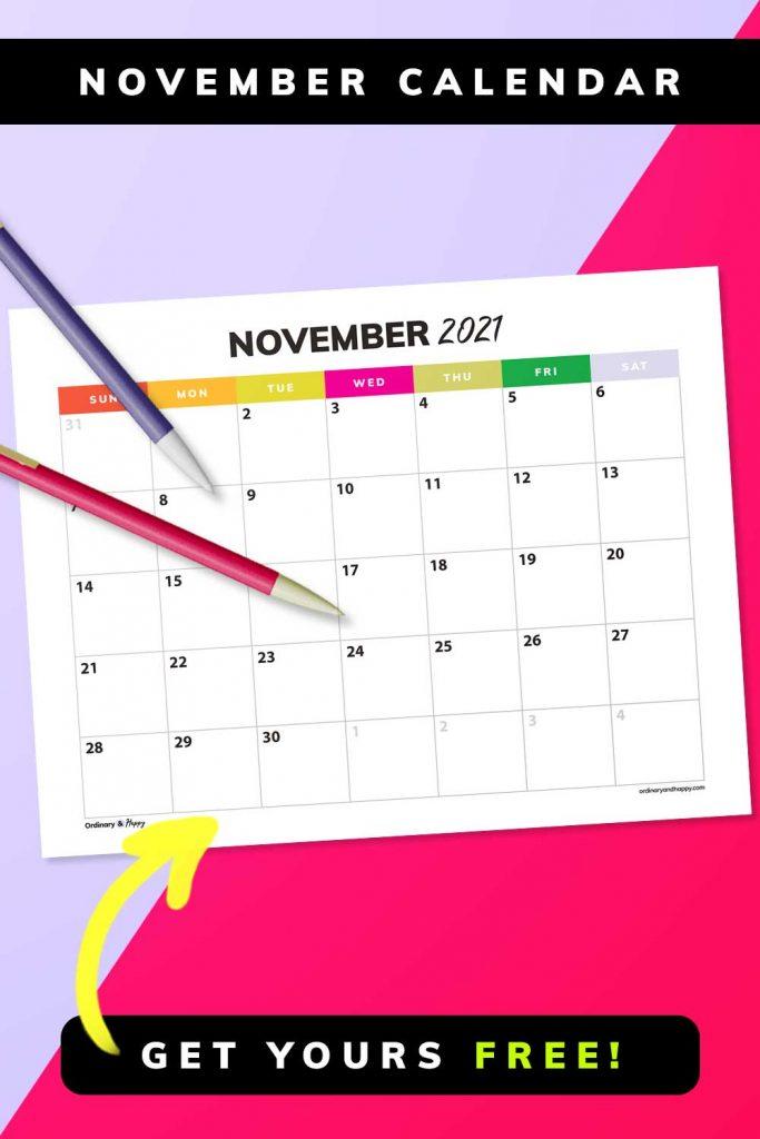 November Calendar Template Printables (Image)
