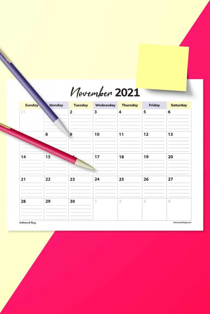 Lined November Calendar Template (Image)