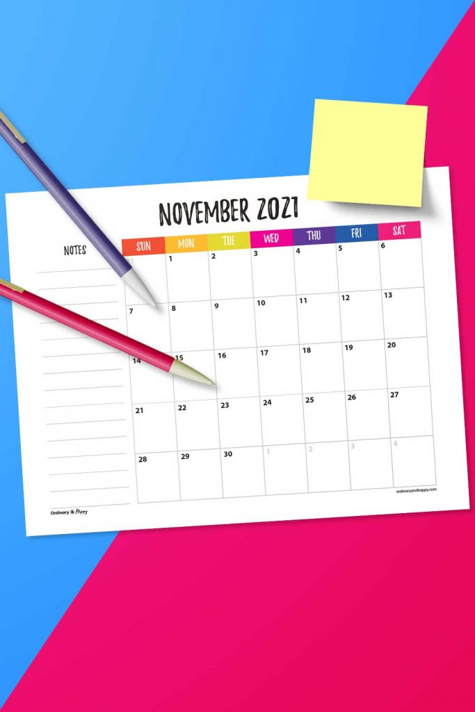 November Calendar with Notes Printable (Image)