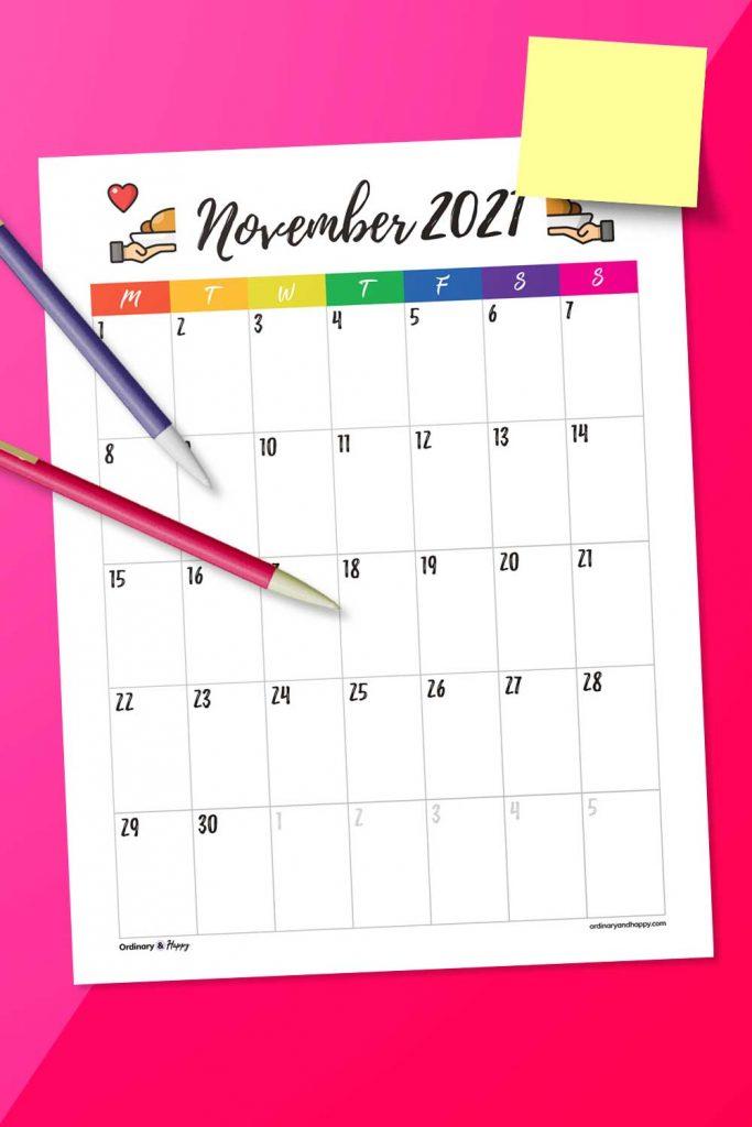 Portrait November Calendar Printable Template (Image)