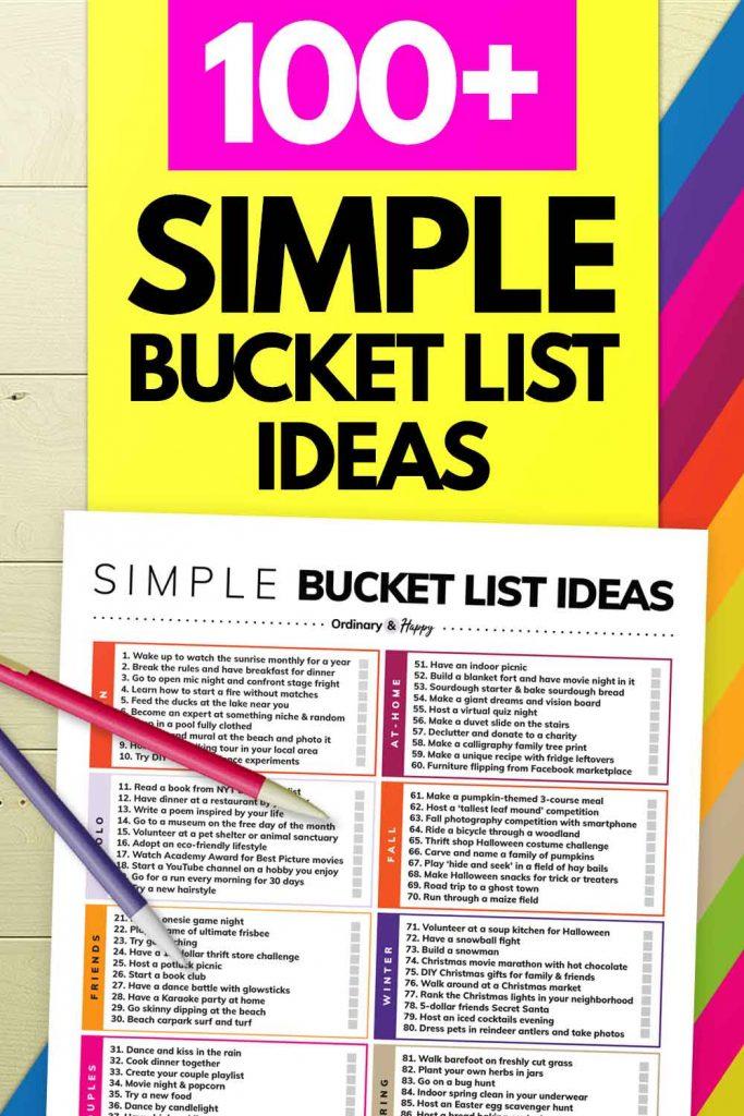 100+ Simple Bucket List Ideas (Image)