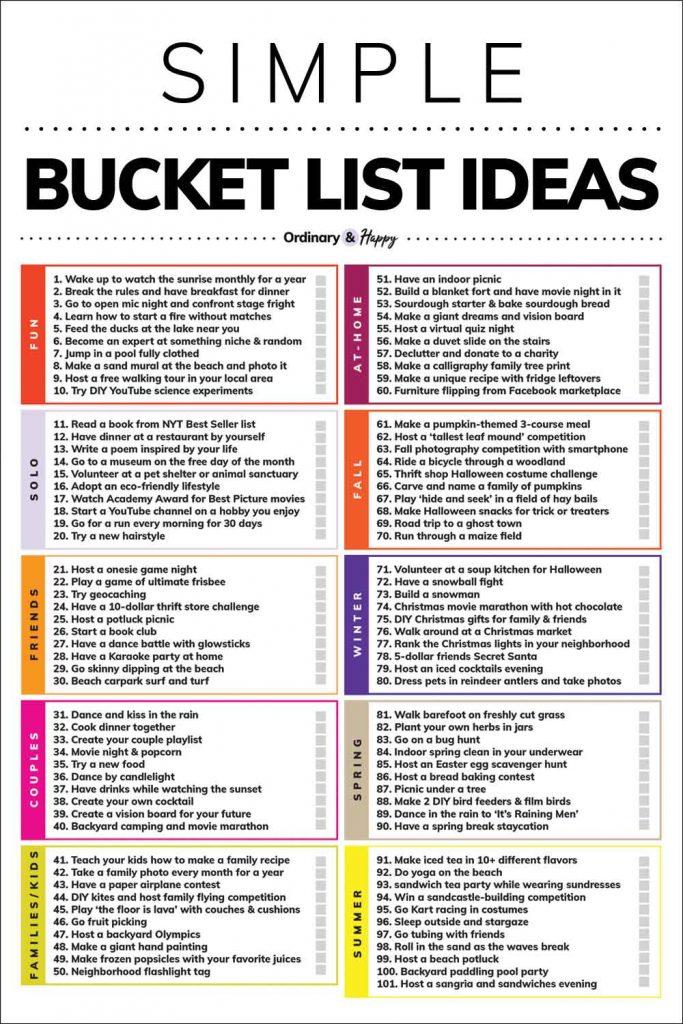 100+ Simple Bucket List Ideas (Image of the List)