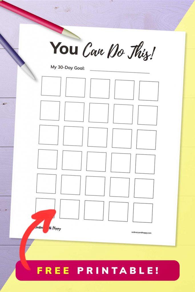 free 30 day habit tracker printable