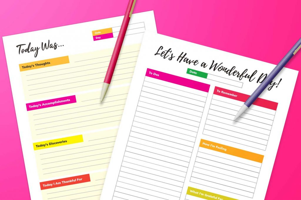 daily journal printables (image)