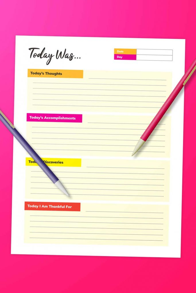 diary-style daily journal printable