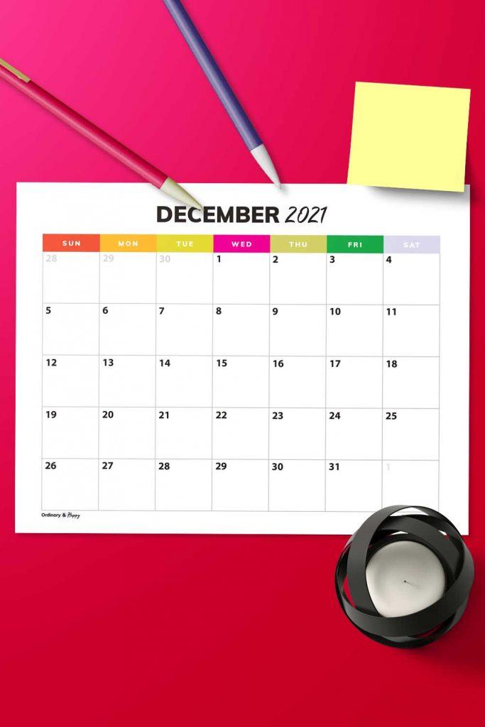 Free December Calendar Image