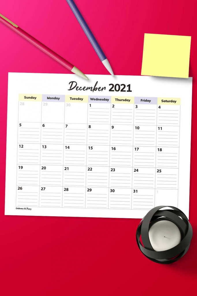 Lined December Calendar Image