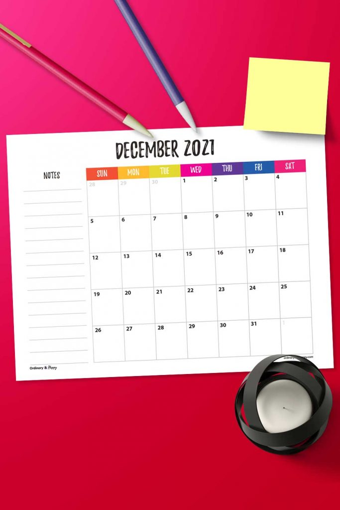 December Calendar with Notes Image