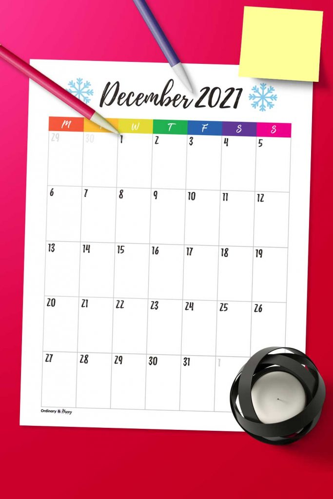 Portrait December Calendar Image