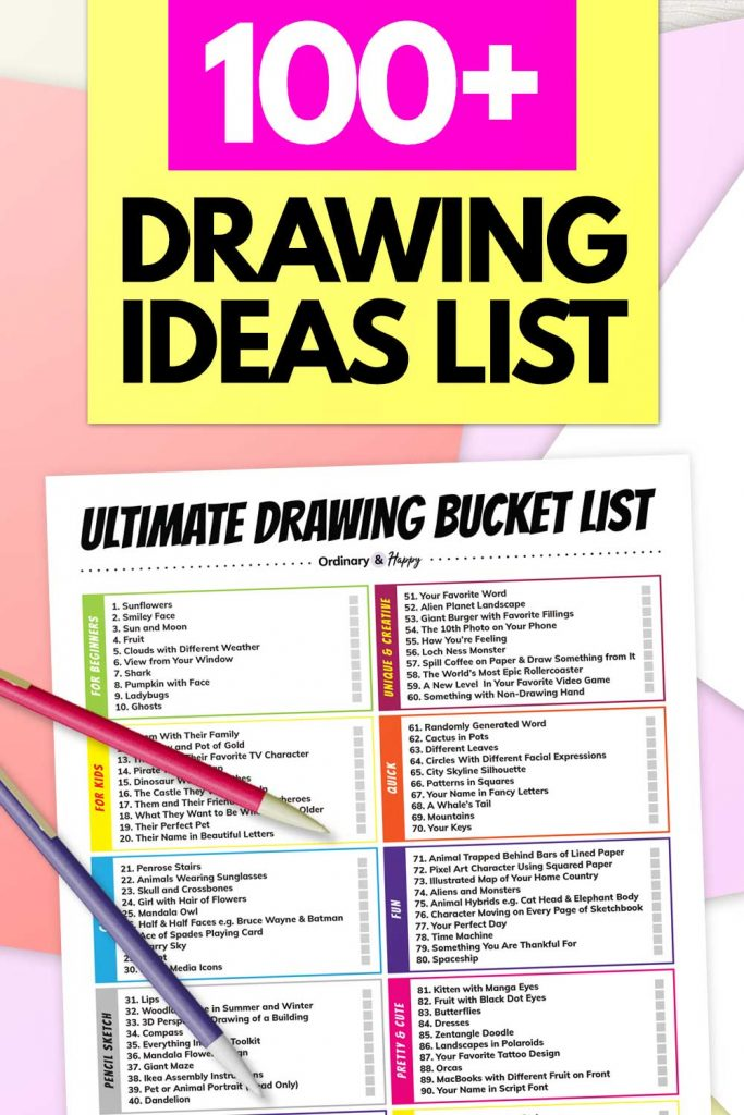 100+ Drawing Ideas List (Image)