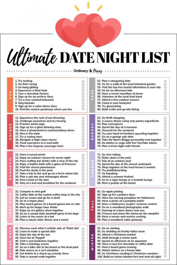 Date Night Ideas (1-100)