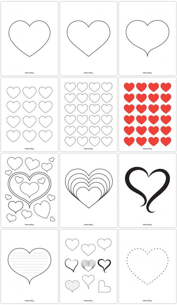 Premium Heart Template Printable Pack