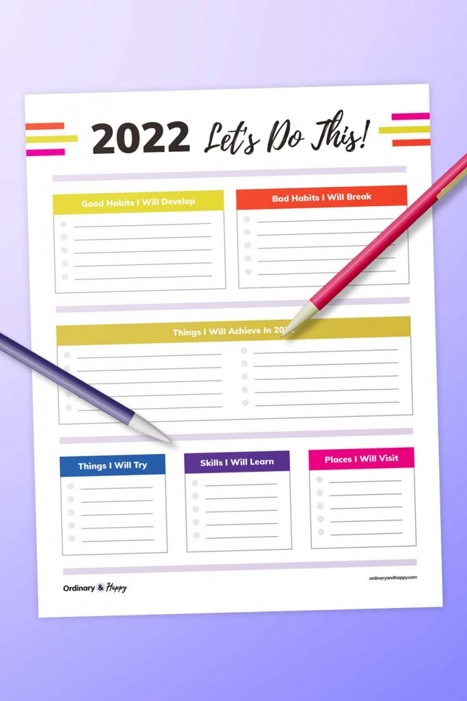 Detailed New Year Resolution Printable (Image)